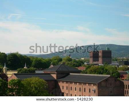 Oslo with Akershus fortress in the foreground. - stock photo