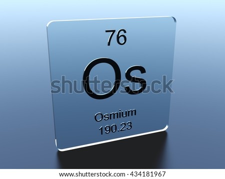 Osmium symbol on a glass square 3D render - stock photo
