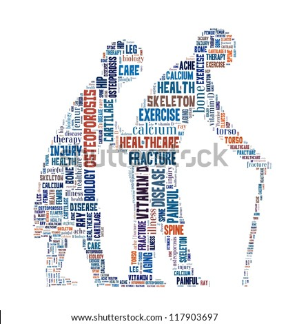 Osteoporosis in word collage - stock photo