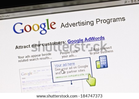 Ostersund, Sweden - August 14, 2011: Close up of Google's Advertising Program on a computer screen. It allows users to buy advertising on Google's search engine through its AdWords program. - stock photo