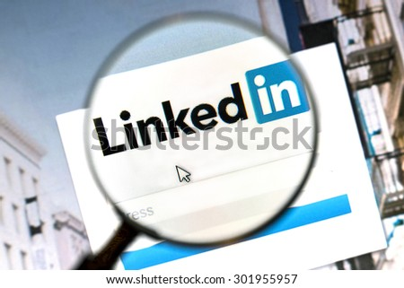 Ostersund, Sweden - August 1, 2015: Linkedin website under a magnifying glass. Linkedin is a business oriented social networking website. - stock photo