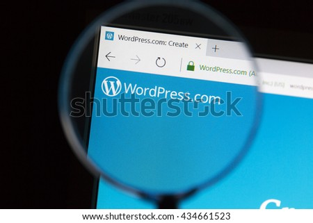 Ostersund, Sweden - June 10, 2016 Closeup of wordpress website under a magnifying glass. WordPress is a free and open-source content management system (CMS) based on PHP and MySQL - stock photo