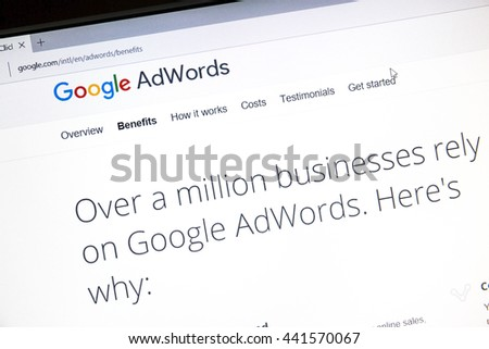 Ostersund, Sweden - June 23, 2016: Google Adwords website on a computer screen. Google AdWords is an online advertising service. - stock photo