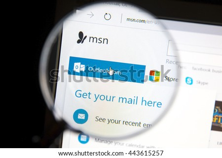 Ostersund, Sweden - June 27, 2016: Msn website under a magnifying glass. Msn  is a web portal and related collection of Internet services and apps for Windows provided by Microsoft - stock photo