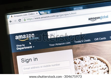 Ostersund, Sweden -May 16, 2014: Amazon website displayed on a computer screen. Amazon is an american international electronic commerce company and the worlds largest online retailer. - stock photo