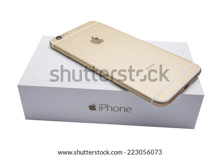Ostersund, Sweden - September 26 2014:  iPhone 6 Plus and the box isolated on white background. Apple IPhone is one of the most popular smart phones in the world.  - stock photo