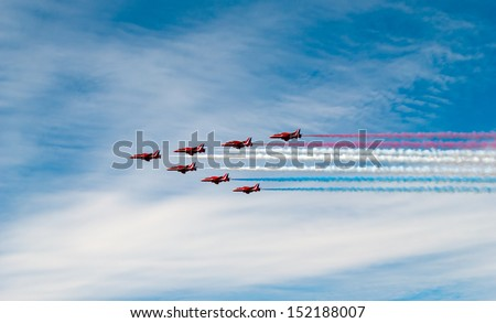 Ostrava, Czech Republic, circa September 2012 - RAF aerobatic team Red Arrows only in seven planes on airshow session NATO Days in Ostrava - stock photo