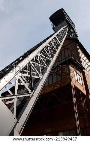 OSTRAVA, CZECH REPUBLIC, JULY 31, 2012 - Mining tower old coal mine shaft  - stock photo