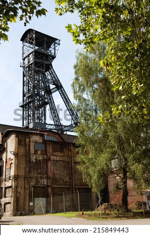 OSTRAVA, CZECH REPUBLIC, JULY 31, 2012 - Old coal mine shaft with  mining tower - stock photo