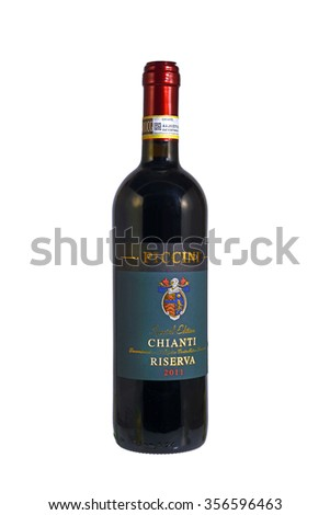 OSTRAVA, CZECH REPUBLIC - NOVEMBER 30, 2015: Bottle of Chianti wine. This is renowned wine from Tuscany, Italy. - stock photo