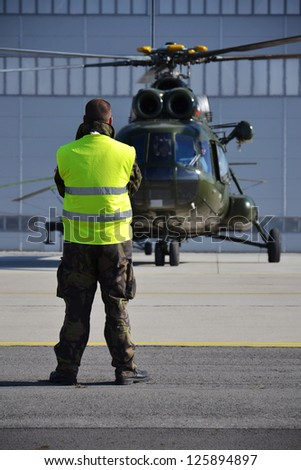 OSTRAVA, CZECH REPUBLIC � SEPTEMBER 22: Polish Mi-8T helicopter prepares for start during airshow session NATO Days on September 22, 2012 in Ostrava, Czech republic. 208 000 people visited NATO Days. - stock photo