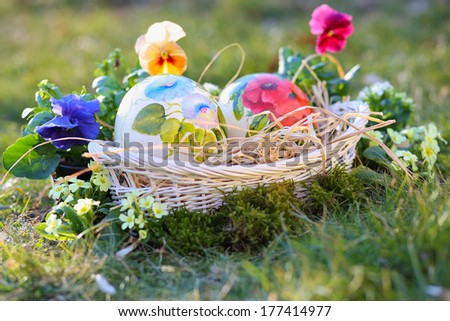 Ostrich painted eggs among flowers and grass . Easter and spring celebration - stock photo