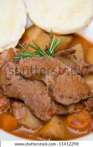 Ostrich pot roast with carrots, potatoes, rosemary and horseradish ...