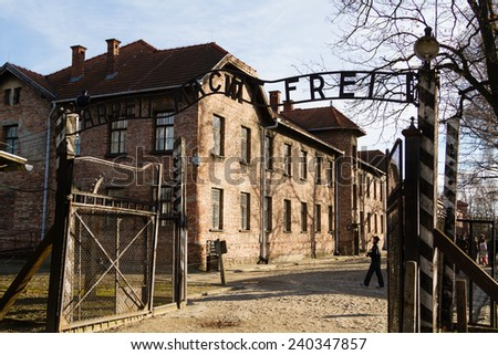 OSWIECIM, POLAND - DECEMBER 24: Auschwitz concentration camp in Oswiecim Poland on December 24, 2014. Oswiecim was the largest German concentration camp in Europe during World War II. - stock photo