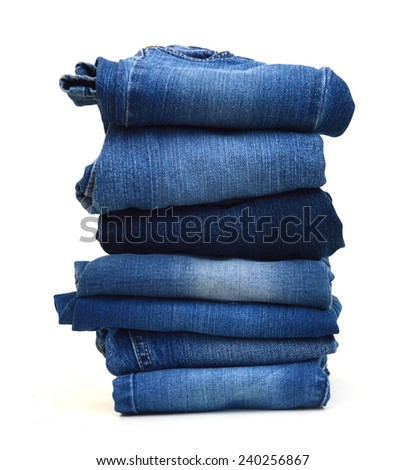 ot of blue jeans isolated on white  - stock photo