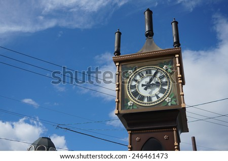 Otaru Steam Clock Tower. This steam clock was a gift from Vancouver to Otaru and well-known as the symbol of the city in Otaru, Hokkaido, Japan.                               - stock photo
