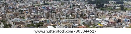 OTAVALO, ECUADOR, MARCH 1: Close-up and urban panorama on the small town of Otavalo in Ecuador, 2015 - stock photo
