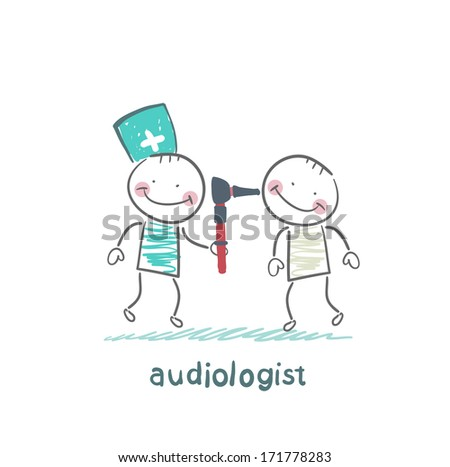 otolaryngologist examines the ear of the patient - stock photo