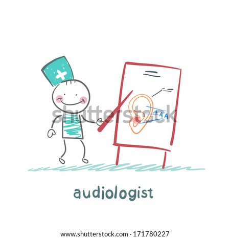 otolaryngologist shows a presentation about the ear - stock photo