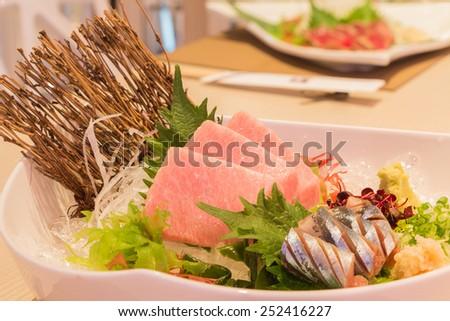 Otoro sashimi (Maguro) and shin samma sashimi, Japanese style food - stock photo