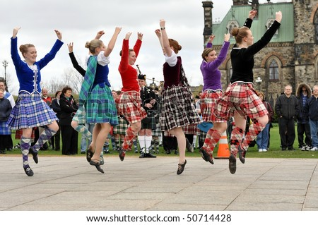 OTTAWA, CANADA - APRIL 11:  Scottish Highland Dancers perform at the National Tartan Day celebration on Parliament Hill April 11, 2010 in Ottawa, Ontario. - stock photo