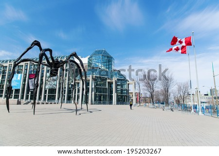 OTTAWA, CANADA - April 17, 2014: The Canadian National Art Gallery. The Gallery of Canada has 36,000 works of art as well as 125,000 images of contemporary photography - stock photo