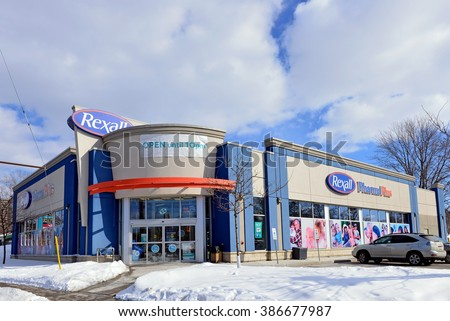 OTTAWA, CANADA - MAR 5, 2016:  Rexall Pharma Plus a Canadian retail pharmacy chain owned by Katz Group of Companies recently sold to McKesson Corporation, a California based pharmaceuticals company. - stock photo