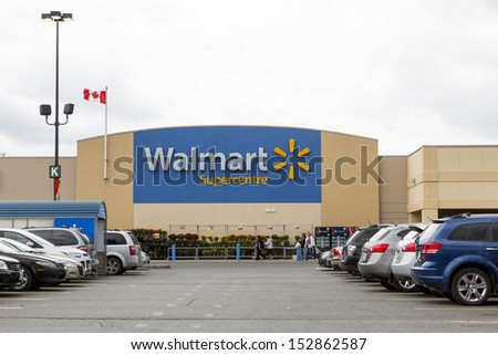 OTTAWA, CANADA - SEPTEMBER 4: A retail outlet for Walmart September 4, 2013, Ottawa, Canada. Walmart has 8,500 stores in 15 countries. Walmart Canada is headquartered in Mississauga, Ontario. - stock photo