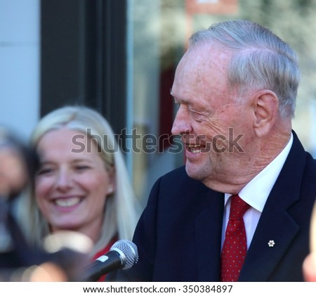 OTTAWA, CANADA - SEPTEMBER 26, 2015: Former Canadian Prime Minister Jean Chretien campaigns for the Liberals in the Oct. 19 federal election.  - stock photo