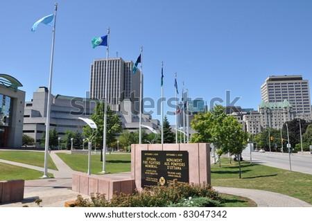 Ottawa Firefighter's Memorial in Canada - stock photo