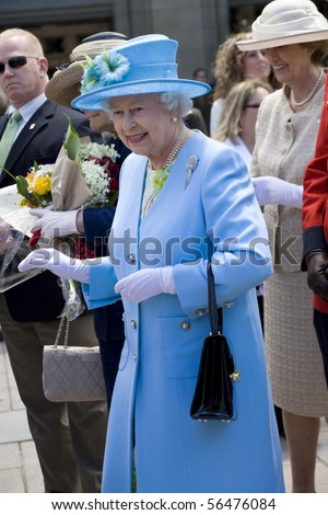 OTTAWA, ON - JUNE 30: Queen Elizabeth II visits the Museum of Nature in Ottawa, Ontario, Canada on June 20, 2010. It was her first stop on her trip to Ottawa. A smiling Queen Elizabeth II during the 2010 Royal Tour in Canada. - stock photo