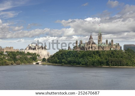 Ottawa, Parliament Hill and Ottawa River, Ontario, Canada - stock photo