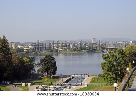 Ottawa River with Gatineau, Quebec in background, Canada - stock photo