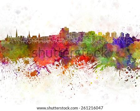 Ottawa skyline in watercolor background - stock photo