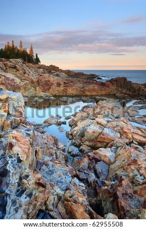 Otter Point , Acadia national park sunset - stock photo