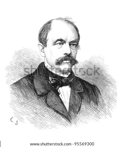 Otto von Bismarck (1815-1898) was a German statesman. Engraving by unknown artist (signed E.S.) from Ny Illustrerad Tidning 1866. - stock photo