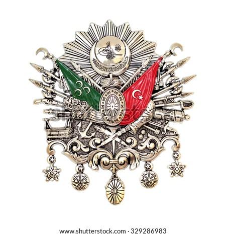Ottoman Empire Emblem,  ( Old Turkish Symbol ) , isolated on white background. - stock photo