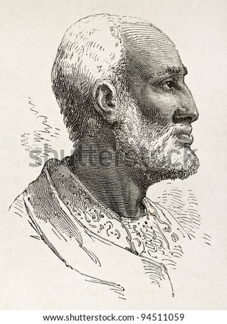 Ouelda Ghiorghis old engraved portrait, notable Abyssinian. Created by Bayard after Lejean, published on Le Tour du Monde, Paris, 1867 - stock photo
