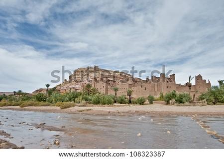 Ounila river as seen near Ait Ben Haddou, Morocco - stock photo
