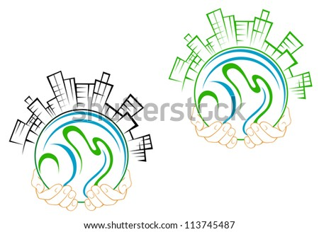 Our green earth planet with buildings in people hands for environment concept design. Vector version also available in gallery - stock photo