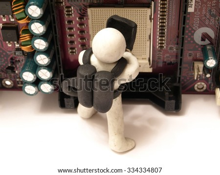 Our master will repair any computer equipment        - stock photo