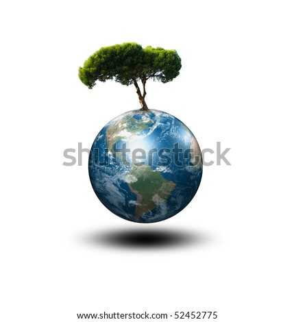 our planet Earth and the tree - a symbol of environmental protection - stock photo