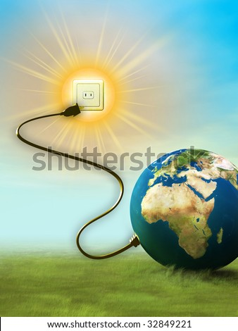 Our planet's energy comes from the sun. Digital illustration. - stock photo
