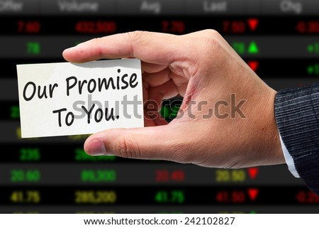 our promise to you text concept - stock photo