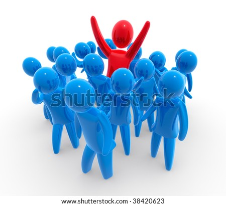 Out of crowd - stock photo