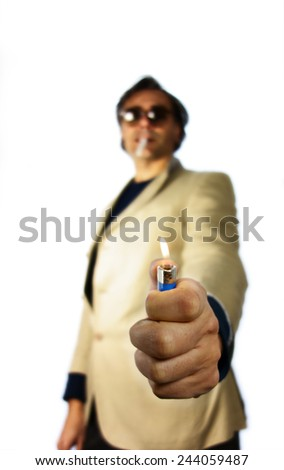out of focus man smoking over white - stock photo