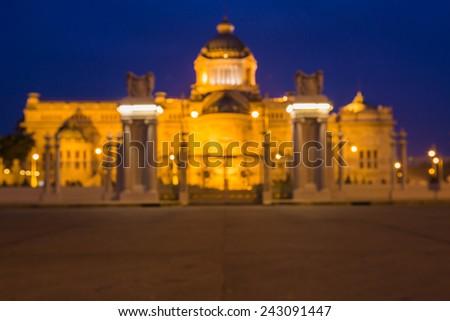 Out of focus of The Ananta Samakhom Throne Hall in Thai Royal Dusit Palace, Bangkok, Thailand. - stock photo