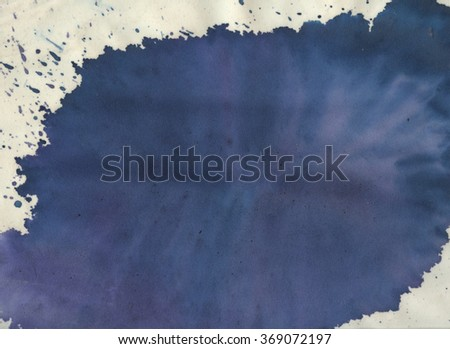 Out of the blue - watercolor splash on a velvet pastel paper, wonderful background - stock photo