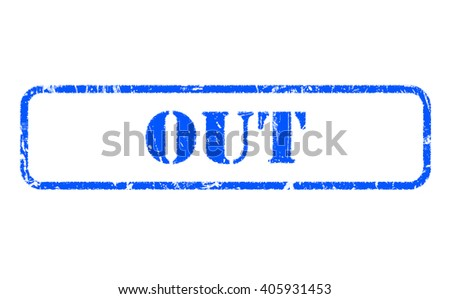 Out rubber blue stamp text on white background - stock photo