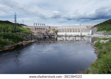 Outardes River Hydro Dam electric power station, Manicouagan, Quebec, Canada - stock photo